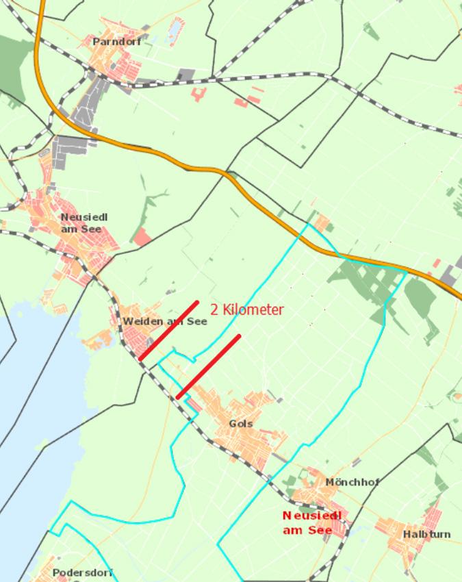 Kartenausschnitt Krankenhaus-Standort Gols zwischen Parndorf und Halbturn